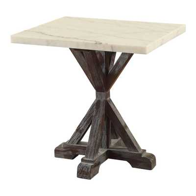 Acme Furniture Romina White Marble and Weathered Espresso End Table, White Marble & Weathered Espresso - Home Depot
