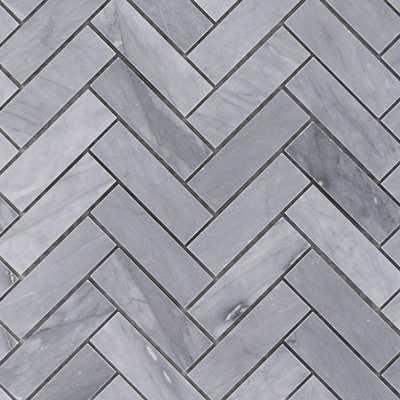 Splashback Tile Stowe Gray Herringbone 11 in. x 12 3/4 in. Marble Mosaic Tile (0.97 sq. ft.) - Home Depot