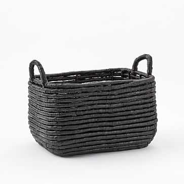 Woven Seagrass Baskets, Black, Medium Rectangle - West Elm