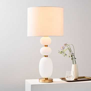 Lilah Table Lamp, Large, White Linen, Milk Glass - West Elm