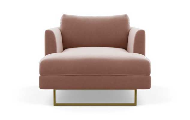 Owens Chaise Chaise Lounge with Pink Blush Fabric and Matte Brass legs - Interior Define