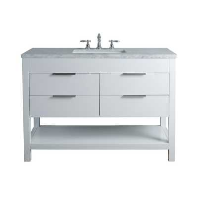 Stufurhome Rochester 48 in. White Single Sink Bathroom Vanity with Marble Vanity Top and White Basin - Home Depot