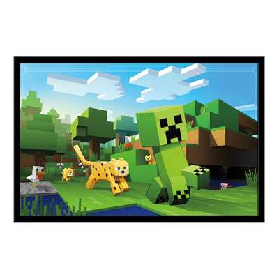 Minecraft - Ocelot Chase Framed Poster Trends International, Multi-Colored - Target