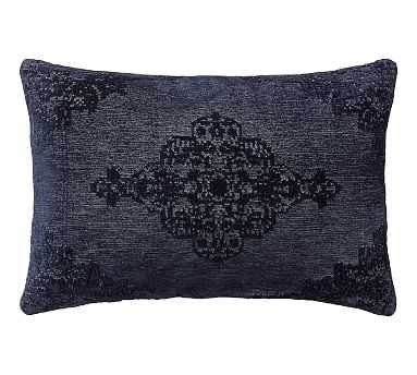 "Maddie Textured Lumbar Pillow Cover, 16 x 26"", Sailor Blue - Pottery Barn"