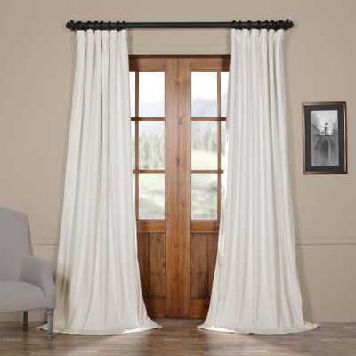 Exclusive Fabrics & Furnishings Blackout Signature Off White Blackout Velvet Curtain - 50 in. W x 120 in. L (1 Panel) - Home Depot