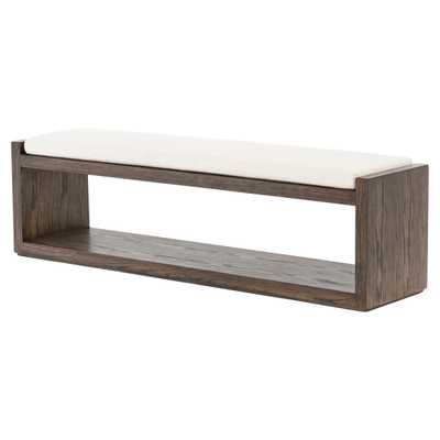 Emma Modern Classic White Cushion Solid Brown Wood Frame Bench - Kathy Kuo Home