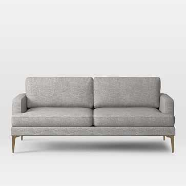 "Andes 76.5""Sofa, Deco Weave, Feather Gray, Blackened Brass - West Elm"