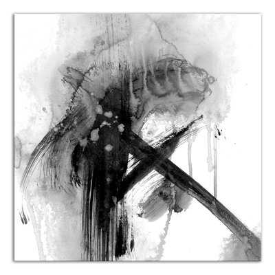 'Black and White Abstract' Watercolor Painting Print on Wrapped Canvas - Wayfair