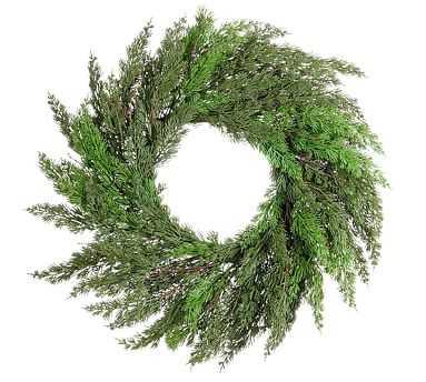 "Faux Juniper Wreath, Green - 26"" - Pottery Barn"