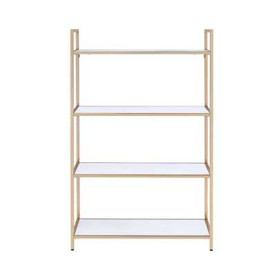 Acme Furniture Ottey White High Gloss and Gold Bookcase - Home Depot