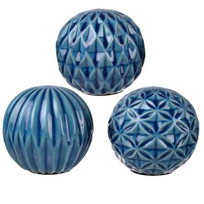 Goodrum Blue 3 Pieces Ball Sculpture Set - Wayfair
