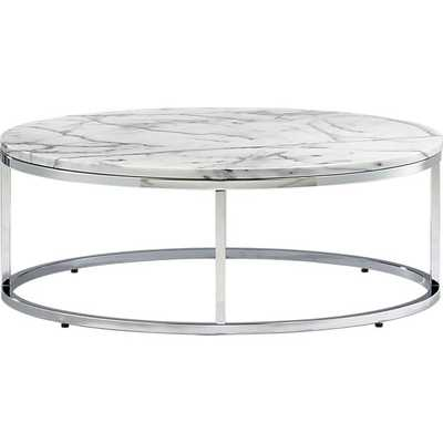 Smart round marble top coffee table - CB2