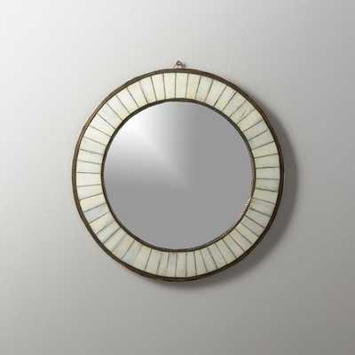 Bone Inlay Small Round Mirror - CB2