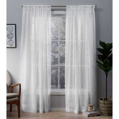 Cali Embroidered Sheer Rod Pocket Window Curtain Panel Pair White 50x96 - Exclusive Home - Target