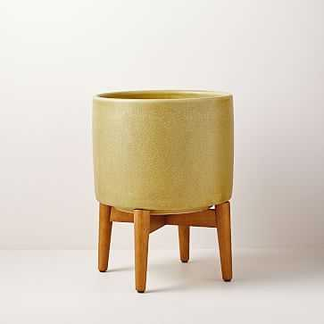 Mid-Century Turned Leg Standing Planters, Yellow Crackle, Wide - West Elm