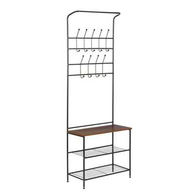 18-Hook Steel Freestanding Storage Valet in Black, Black With Cherry - Home Depot