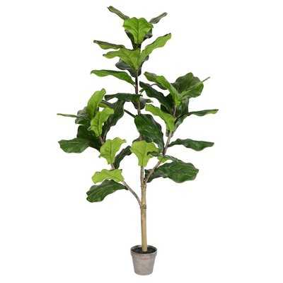 Artificial Potted Floor Foliage Fiddle Tree in Pot - Wayfair