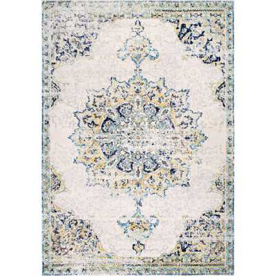 Sunny Wildflower Medallion Blue 10 ft. x 14 ft. Area Rug - Home Depot