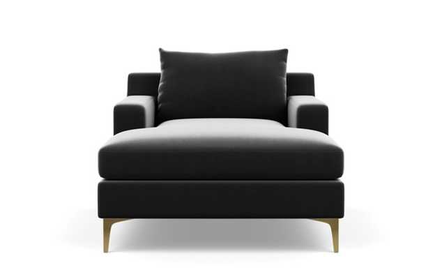 Sloan Chaise Chaise Lounge with Grey Narwhal Fabric, extended chaise, and Brass Plated legs - Interior Define