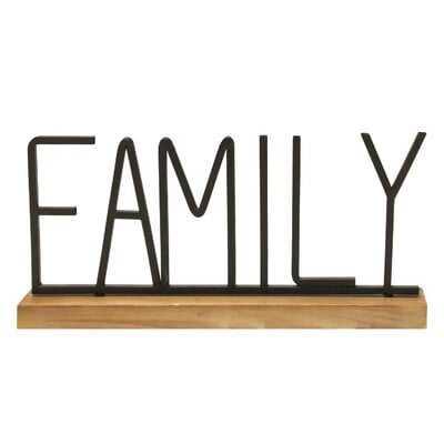 Hern Metal and Wood Family Table Top Letter Block - Wayfair