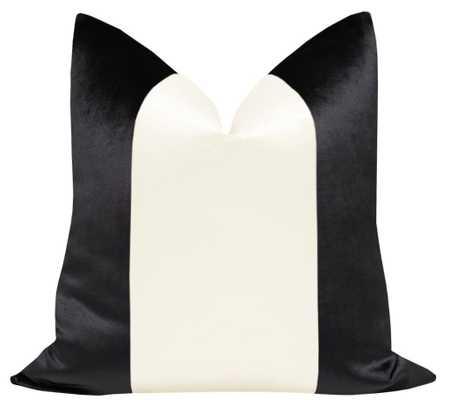 """PANEL :: Faux Silk Velvet // Noir + off white - 20"""" X 20"""" - Little Design Company"""