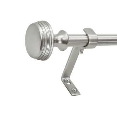 Montevilla 5/8 in. Knob Telescoping Drapery Rod Set 26 in. - 48 in., Dark Nickel - Home Depot