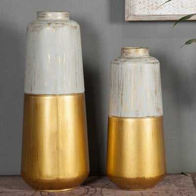 Baran Metal 2 Piece Vase Set - Wayfair