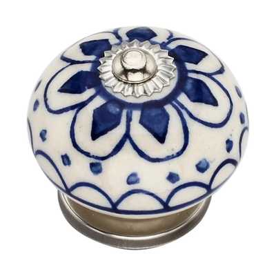 Omaha Washed 1.57 in. Blue Cabinet Knob - Home Depot