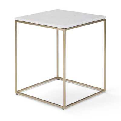 Simpli Home Kline White and Gold Accent Table - Home Depot