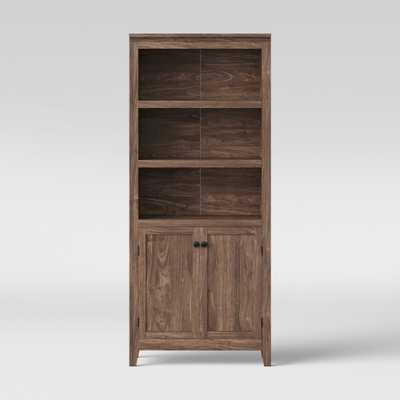 72 Carson 5 Shelf Bookcase with Doors Walnut Brown - Threshold - Target