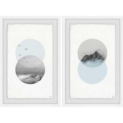 'Waves and Mountain Diptych' 2 Piece Framed Graphic Art Print Set - Wayfair