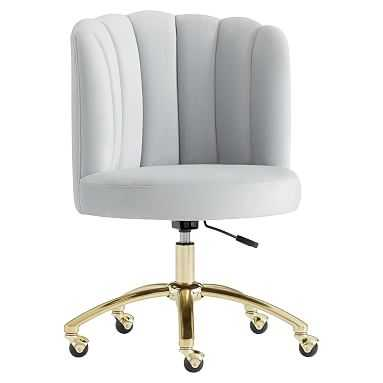 Channel Stitch Task Chair, Lustre Velvet Silver - Pottery Barn Teen