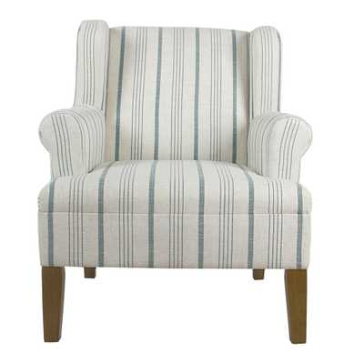 Homepop Striped Blue Calypso Poly-Linen Emerson Rolled Arm Accent Chair - Home Depot