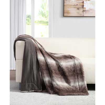 Millburn Faux Brown Fur Throw Blanket - Home Depot