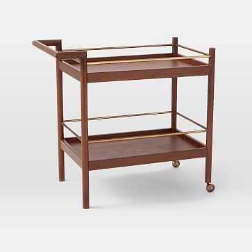 Mid-Century Bar Cart, Walnut - West Elm