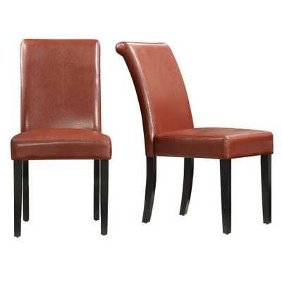 Fairfield Red Faux Leather Dining Chair (Set of 2) - Home Depot