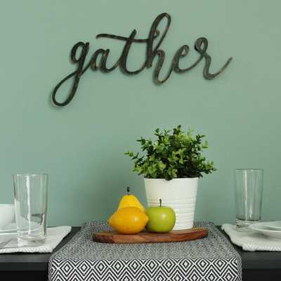 "Black ""gather"" Script Decorative Sign Wall Decor - Home Depot"