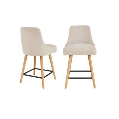 StyleWell Benfield Wood Upholstered Counter Stool with Back and Biscuit Beige Seat (Set of 2) (19.48 in. W x 36.02 in. H), Biscuit/Natural - Home Depot