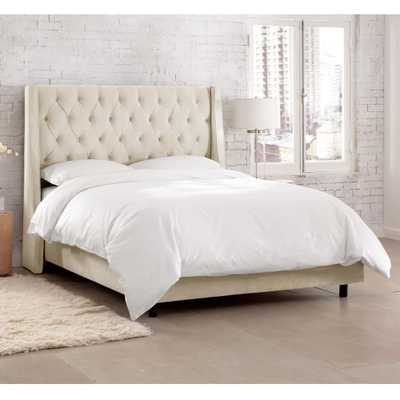 Skyline Furniture Hdc Willow White Queen Upholstered Bed, Mystere Ivory - Home Depot