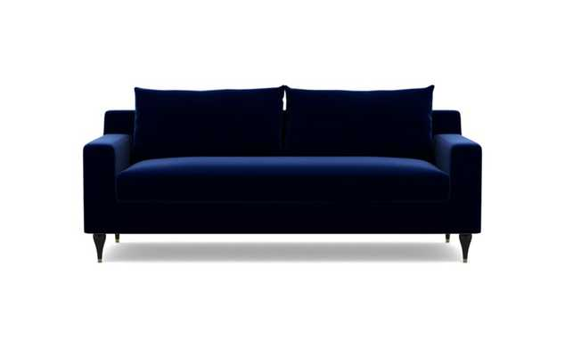 Sloan Sofa with Oxford Blue Fabric, Matte Black with Brass Cap legs, and Bench Cushion - Interior Define