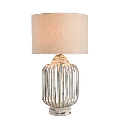Kenroy Home Bodhi 27 in. Antique White Table Lamp with Cream Fabric Shade - Home Depot