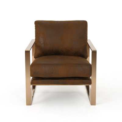 Noble House Cecelia Modern Brown Microfiber Club Chair, Brown/Rose Gold - Home Depot