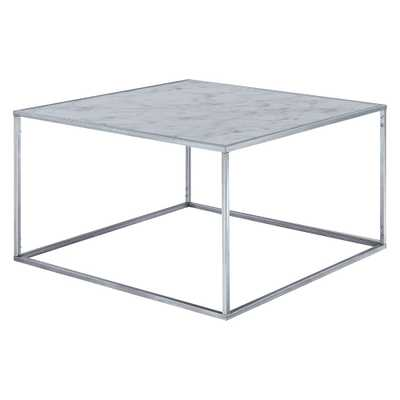 Gold Coast Faux Marble Coffee Table Faux Marble/Silver - Johar - Target