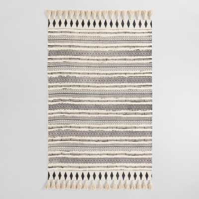 Ivory and Black Moroccan Cotton Shag Area Rug by World Market - 4' x 6' - World Market/Cost Plus
