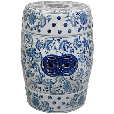 Oriental Unlimited Oriental Furniture 18 in. Floral Blue and White Porcelain Garden Stool - Home Depot