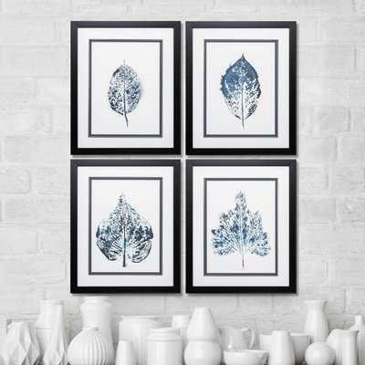 'Beginning In Blue' 4 Piece Framed Graphic Art Print Set - Birch Lane