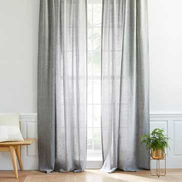 "Semi-Sheer Belgian Flax Linen Melange Curtain, Blackout Lining, Slate, 48""X96"" - West Elm"