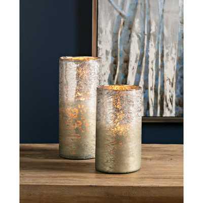 Imax Zuri Metallic Ombre Vases (Set of 2), Silver - Home Depot