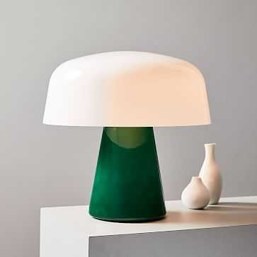 Bella Table Lamp, Small, Green Glass, Milk Glass - West Elm