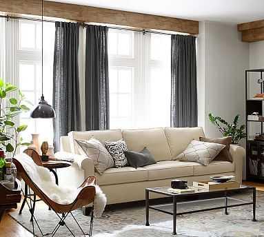 "Cameron Square Arm Upholstered Grand Sofa 96"", Polyester Wrapped Cushions, Sunbrella(R) Performance Boss Herringbone Pebble - Pottery Barn"
